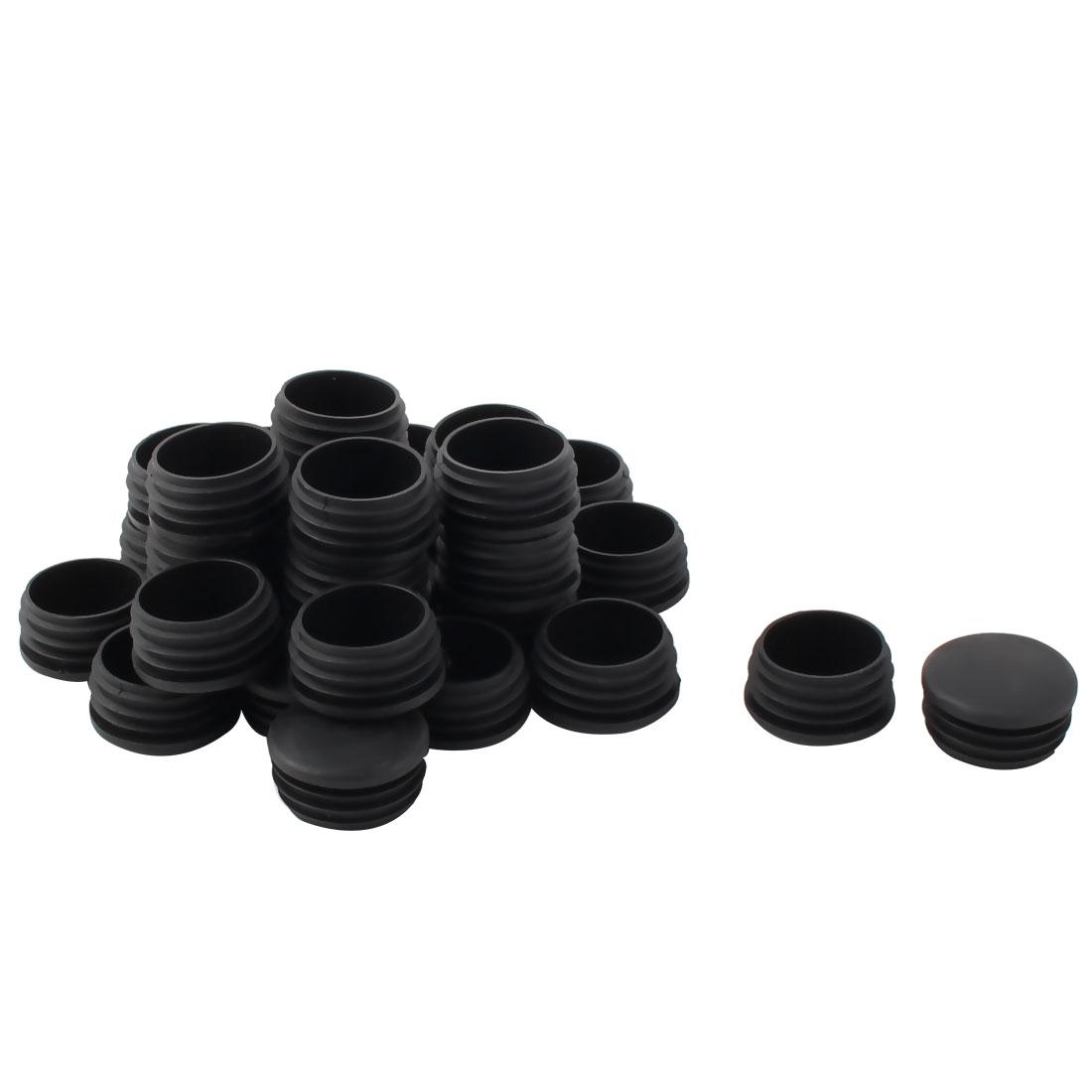 Plastic Round Tube Insert Blanking End Protectors Caps Black 37mm Dia 30 PCS