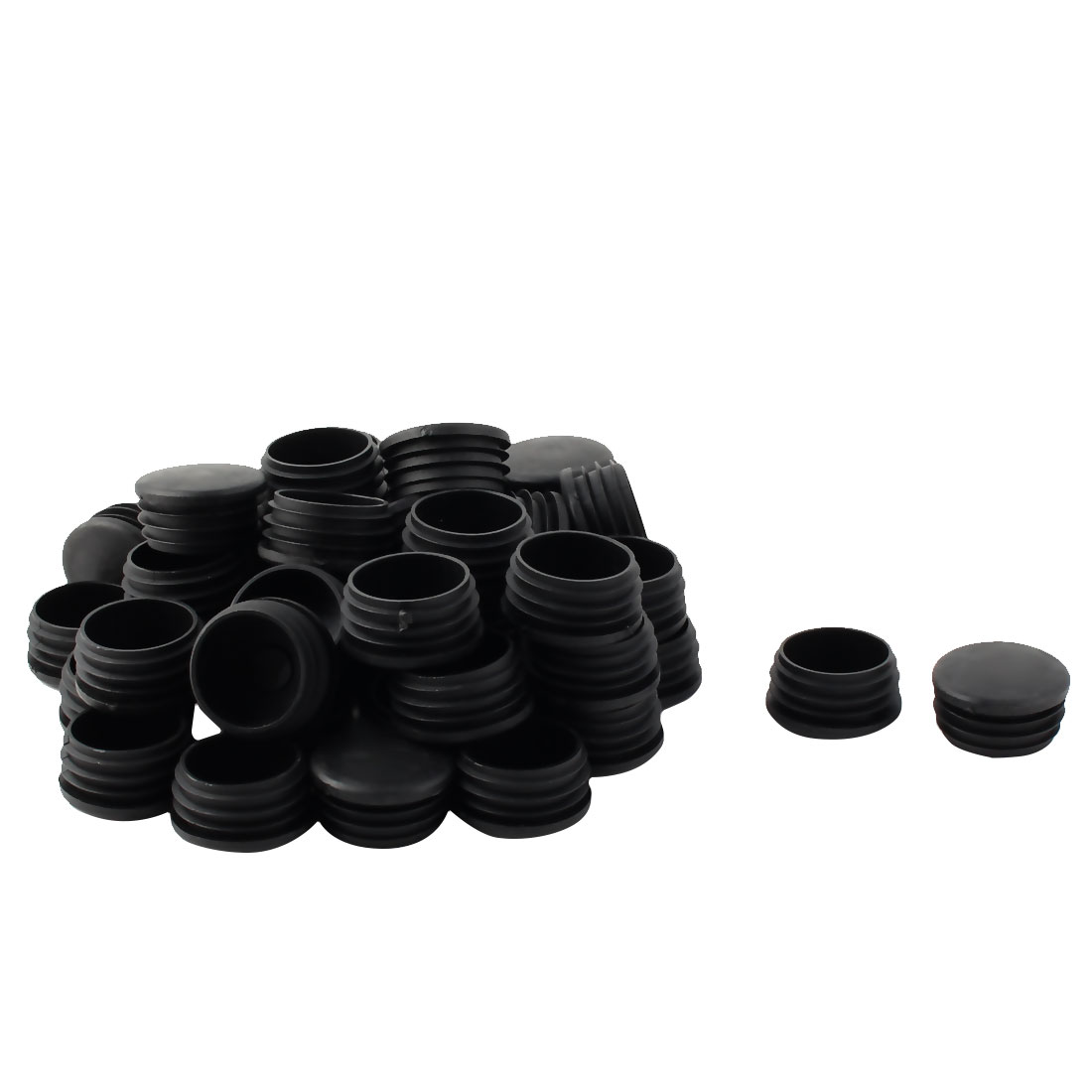 Plastic Round Tube Insert Blanking End Protectors Caps Black 38mm 50 PCS