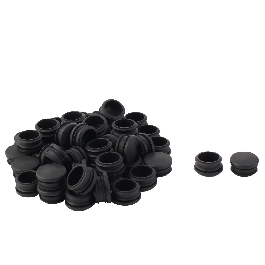Plastic Round Tube Insert Blanking End Protectors Caps Black 30mm 50 PCS