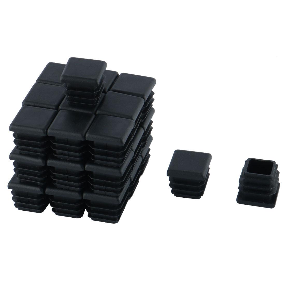 Furniture Chair Table Plastic Square Tube Insert Cap Black 20mm x 20mm 30pcs