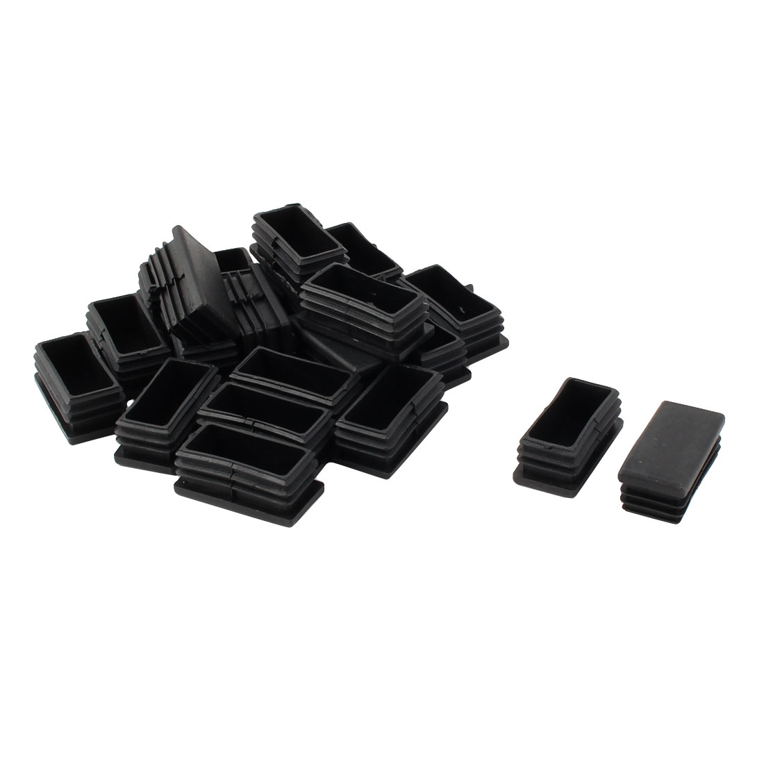 Furniture Chair Plastic Tube Insert Cap Protectors Black 50mm x 25mm 20pcs