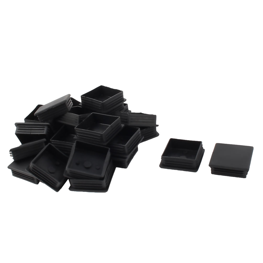 Furniture Table Plastic Square Tube Insert Protector Cap Black 60mm x 60mm 24pcs