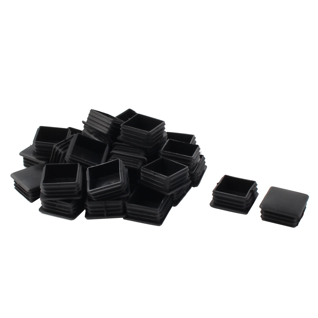 Furniture Chair Table Plastic Square Tube Insert End Cap Black 40mm x 40mm 30pcs