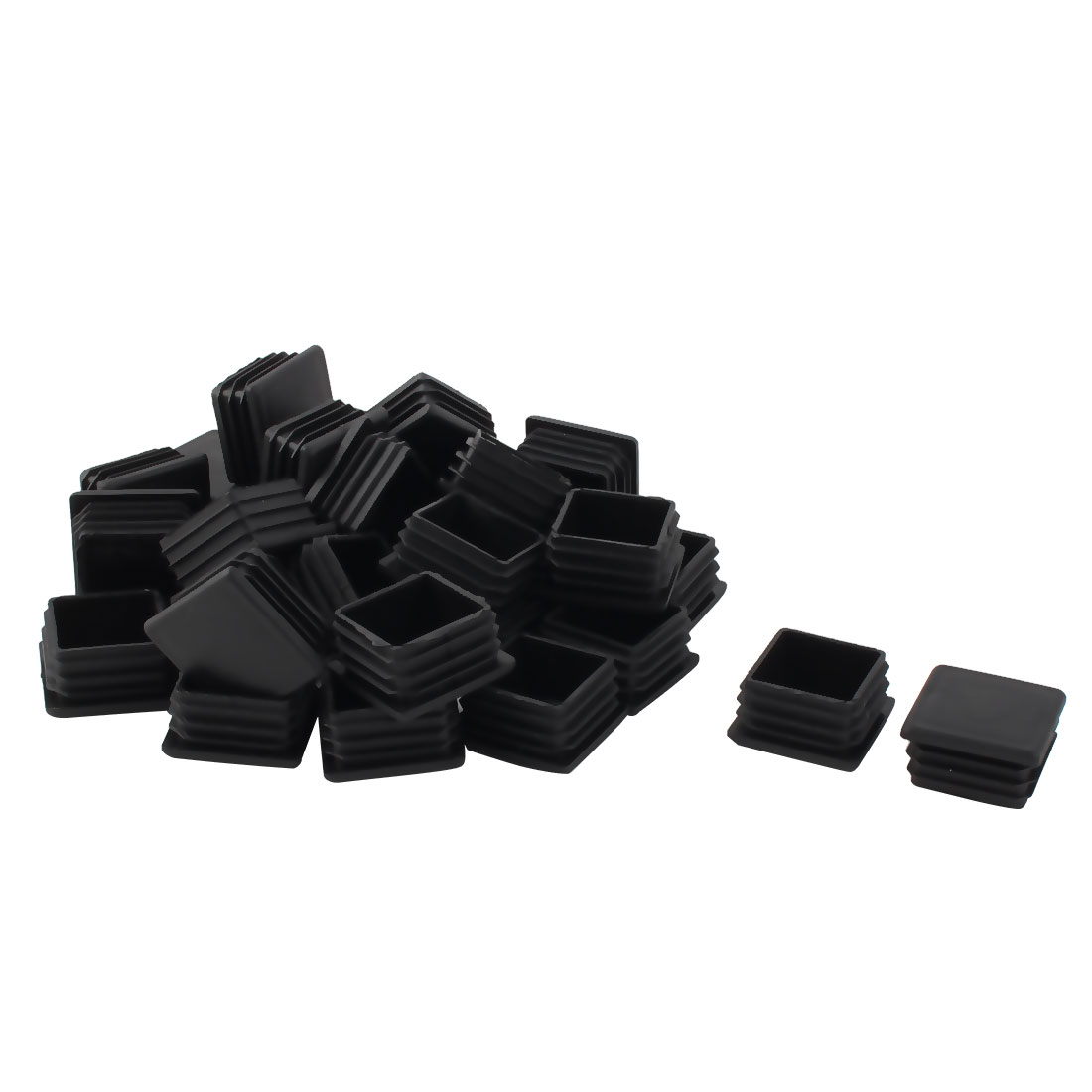 Furniture Chair Table Plastic Square Tube Insert End Cap Black 35mm x 35mm 30pcs