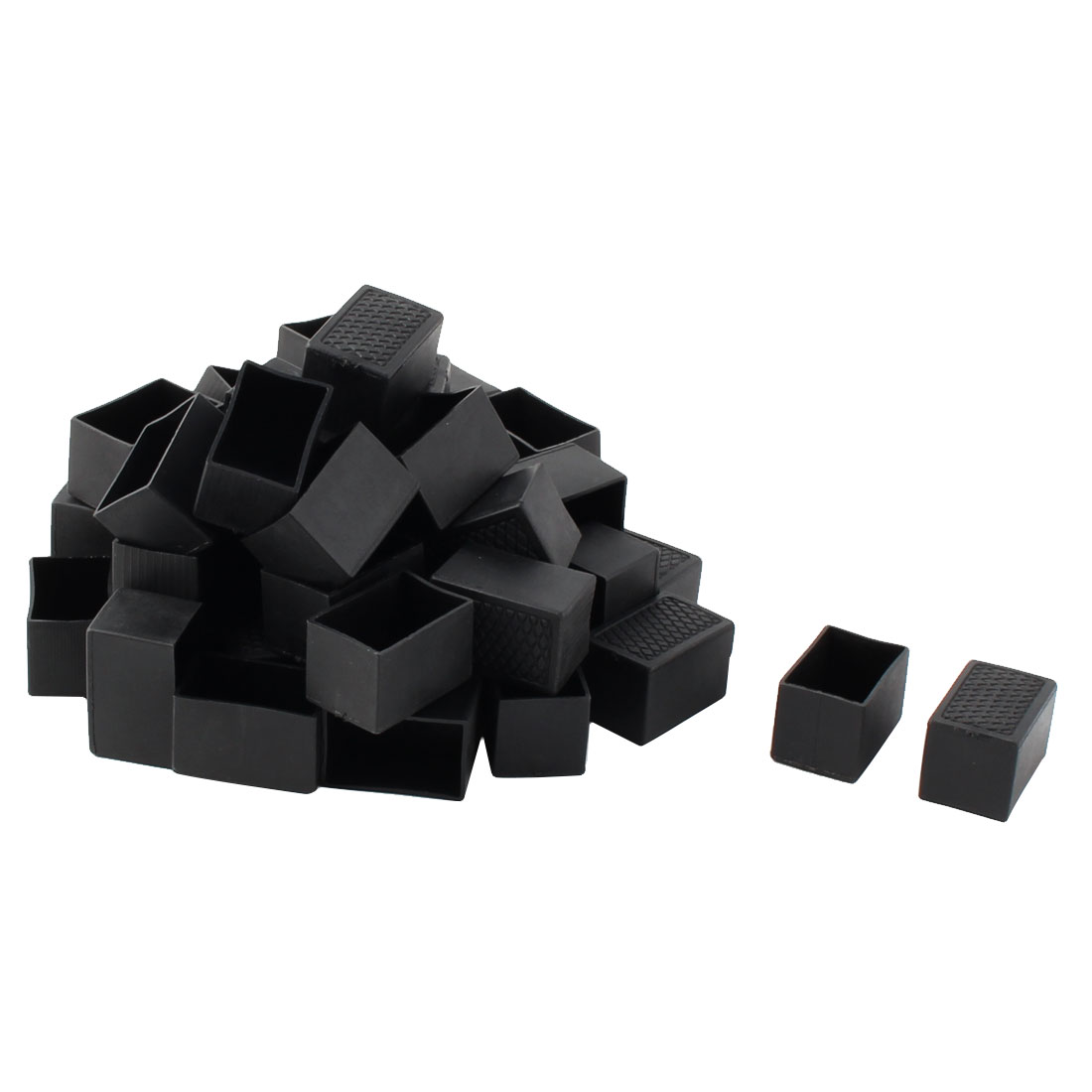 Furniture Chair Table Plastic Tube Insert Protector Caps Black 40mm x 25mm 50pcs