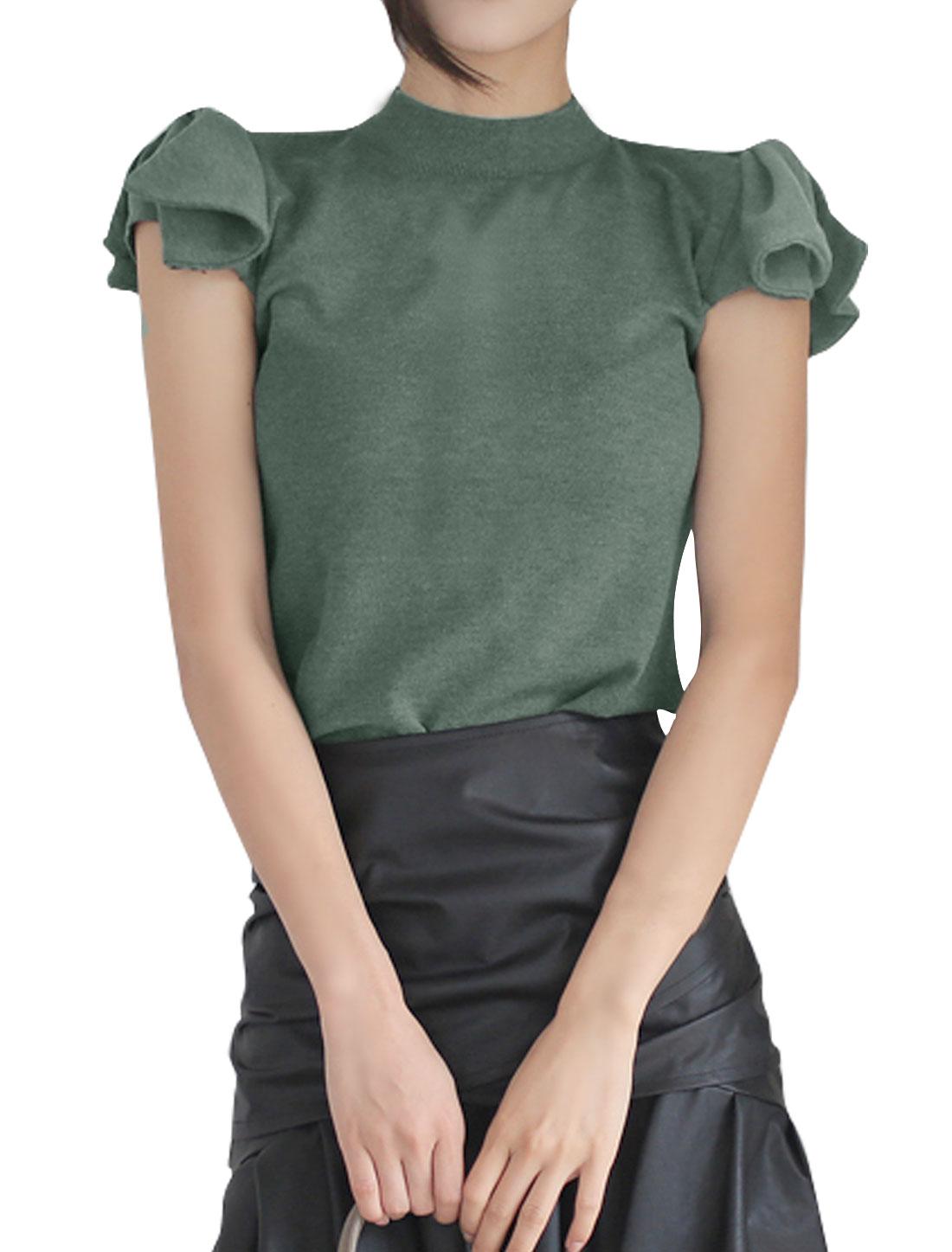 Women Cap Sleeves Mock Neck Bowknot Decor Slim Fit Top Gray S