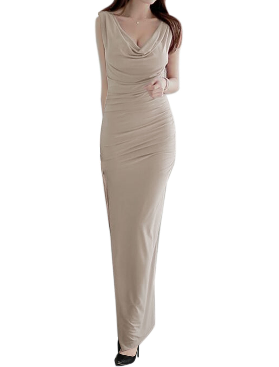 Women Sleeveless Cowl Neck Cross Back Split Side Ruched Maxi Dress Beige M