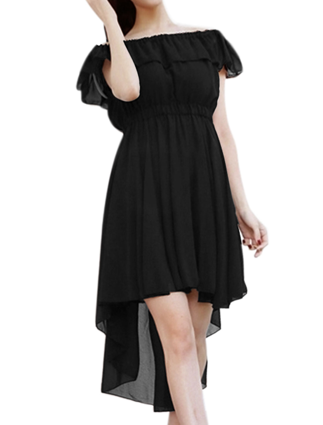 Women Off Shoulder Flouncing Upper High Low Hem Chiffon Dress Black XS