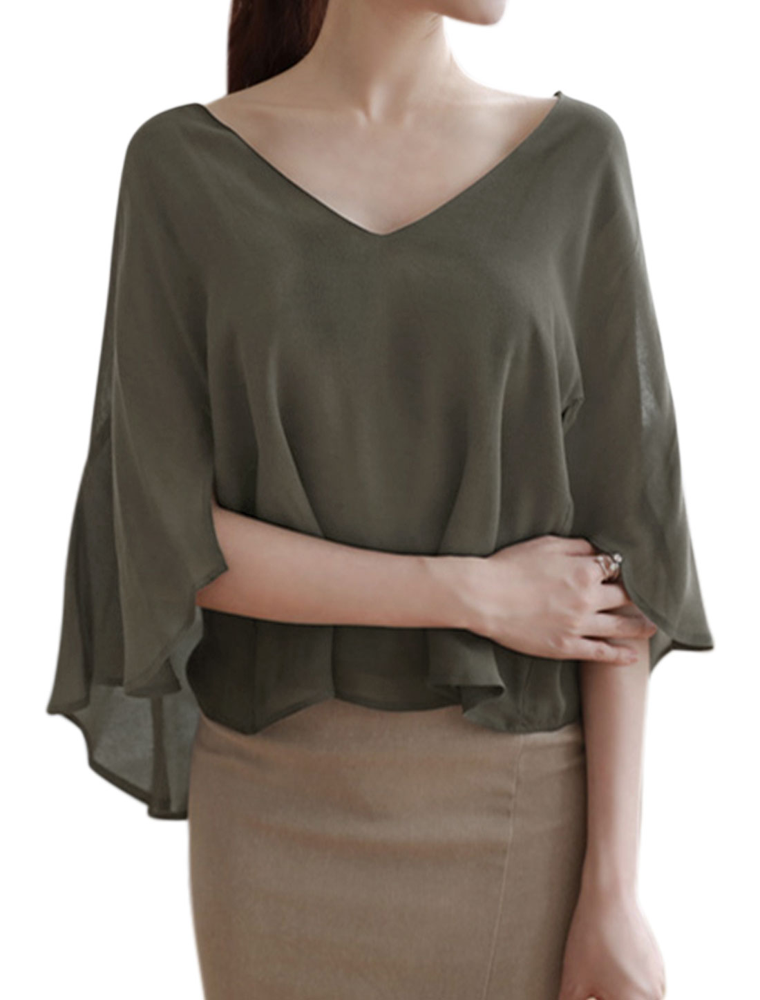 Women V Neck 3/4 Sleeves Layered Chiffon Oversized Cape Top Green XS