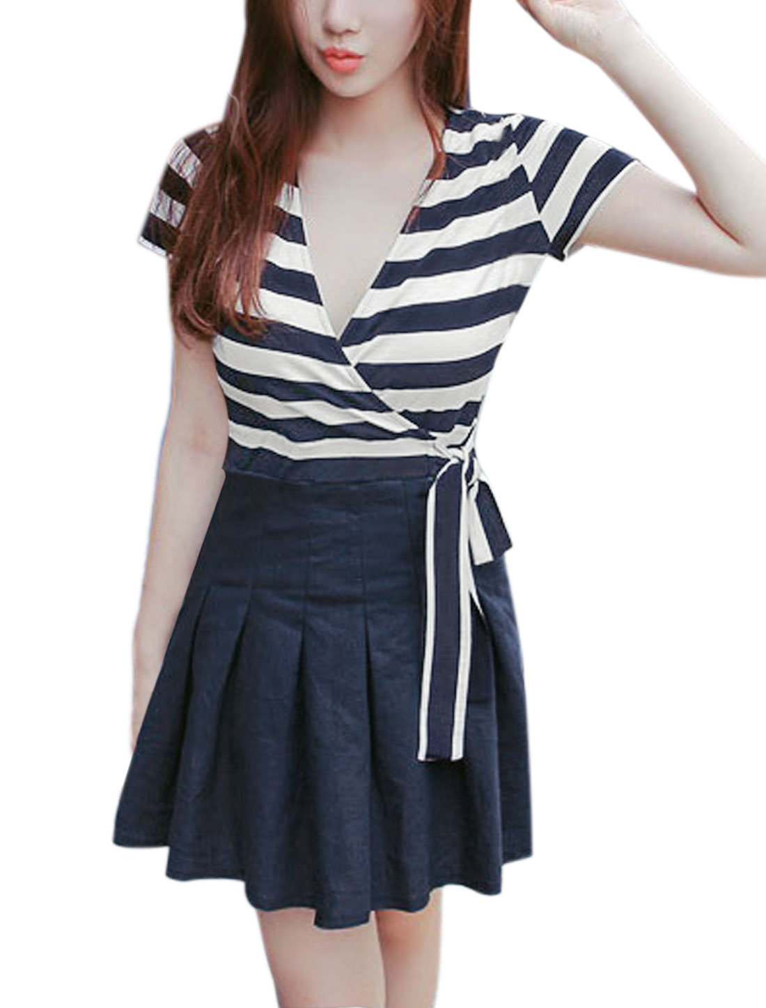 Women Crossover V Neck Striped Panel Pleated A Line Dress Blue S