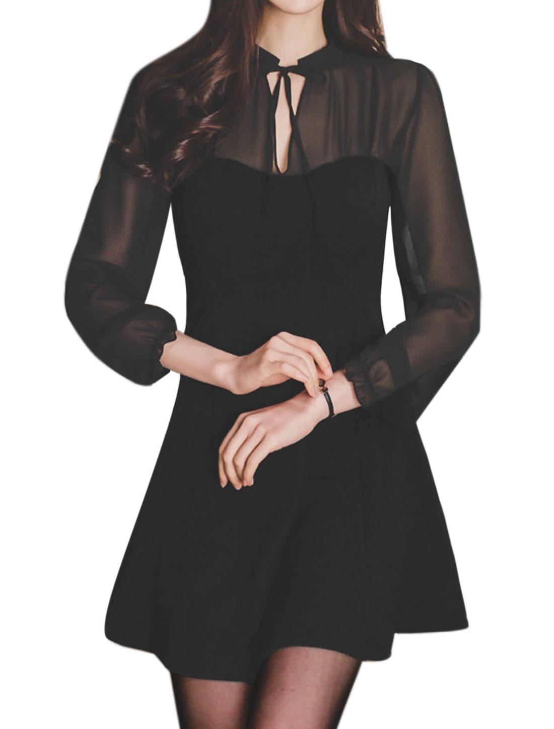 Ladies Self Tie Front Chiffon Panel A Line Dress Black M