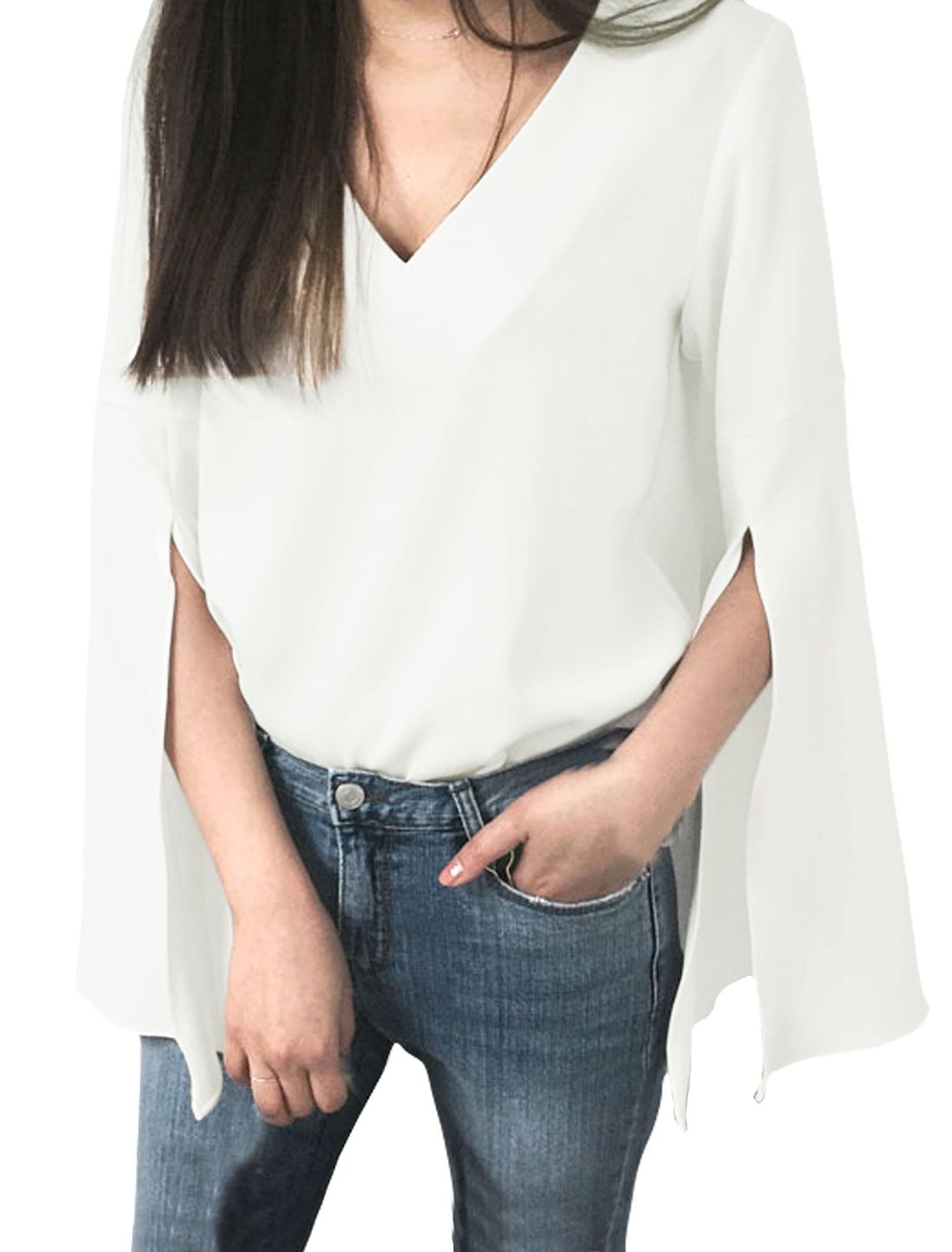 Ladies Bell Sleeves Split Cuffs V Neck Loose Top White XS