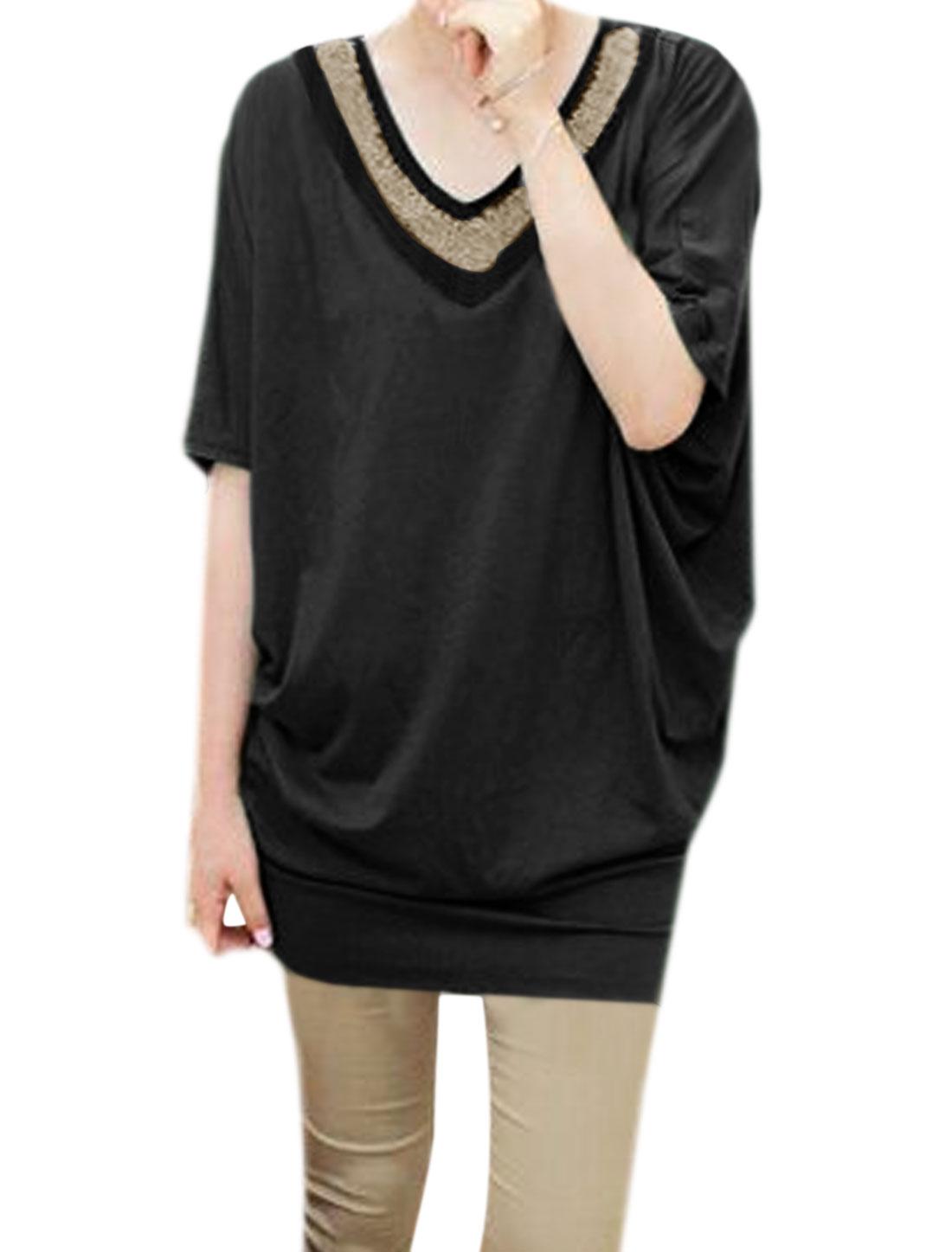 Women V Neck Beads Decor Loose Batwing Tunic Blouse Black XS