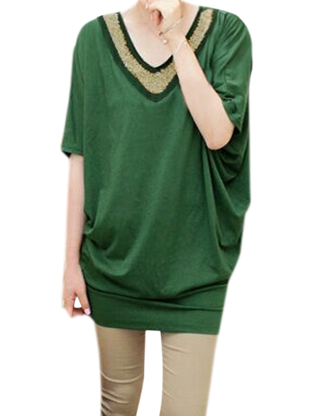Women V Neck Beads Decor Loose Batwing Tunic Blouse Green XS