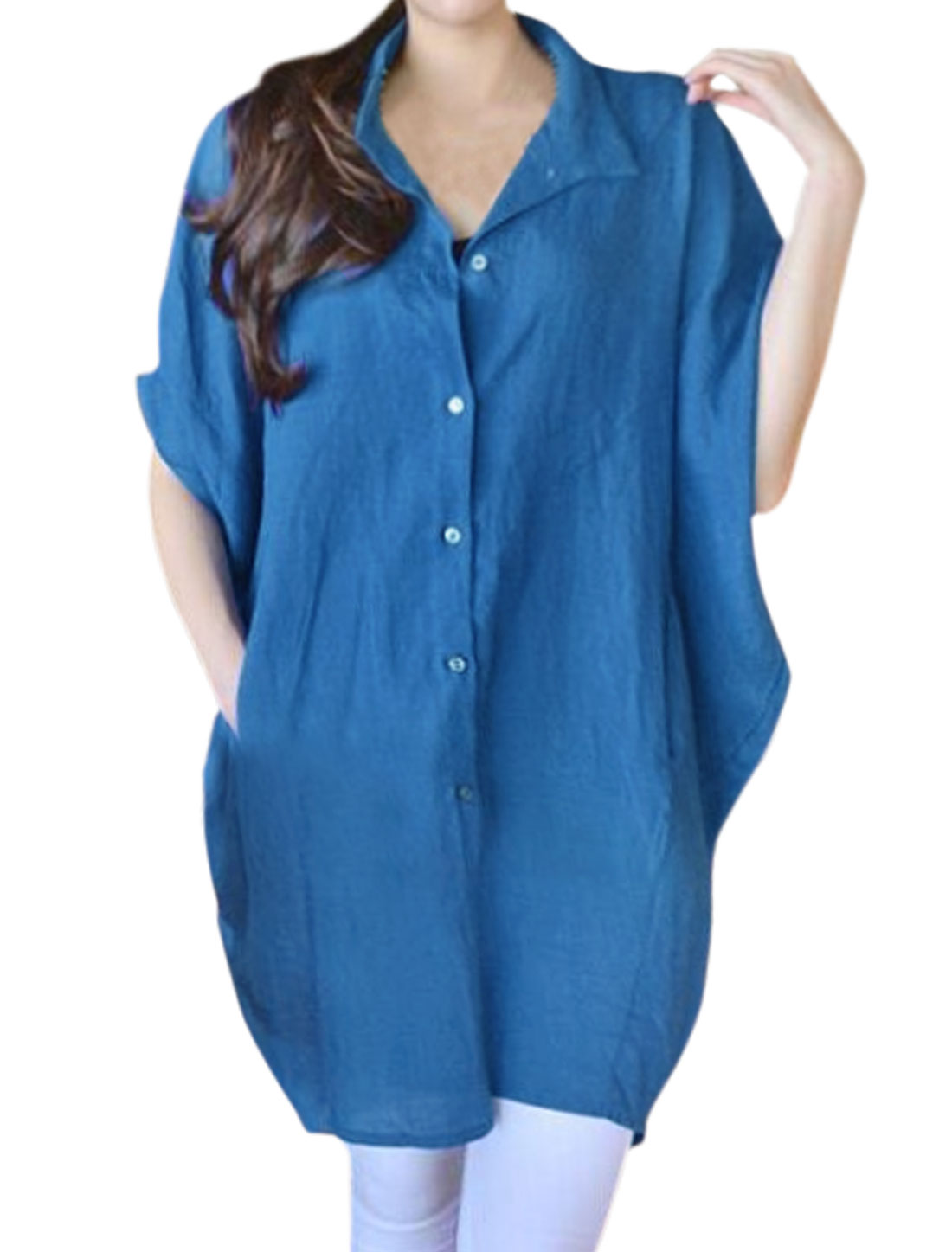Women Batwing Sleeves Button Up Oversized Shirt Dress Light Blue S