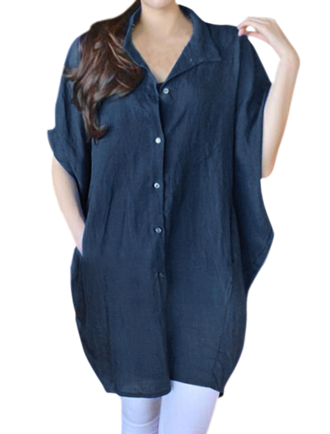 Women Batwing Sleeves Button Up Oversized Shirt Dress Navy Blue M
