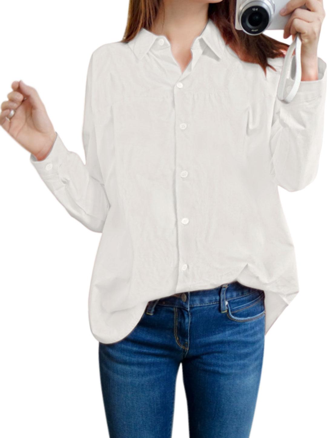 Women Collared Round Hem Batwing Sleeves Tunic Shirt White XS