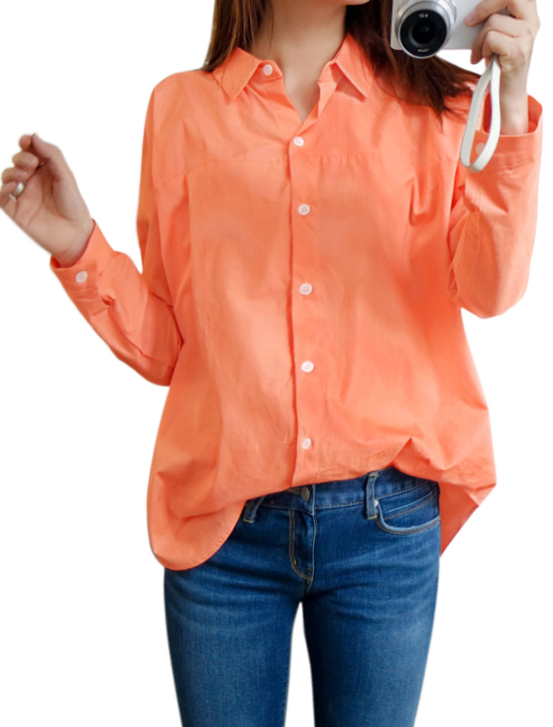 Women Collared Round Hem Batwing Sleeves Tunic Shirt Orange XS