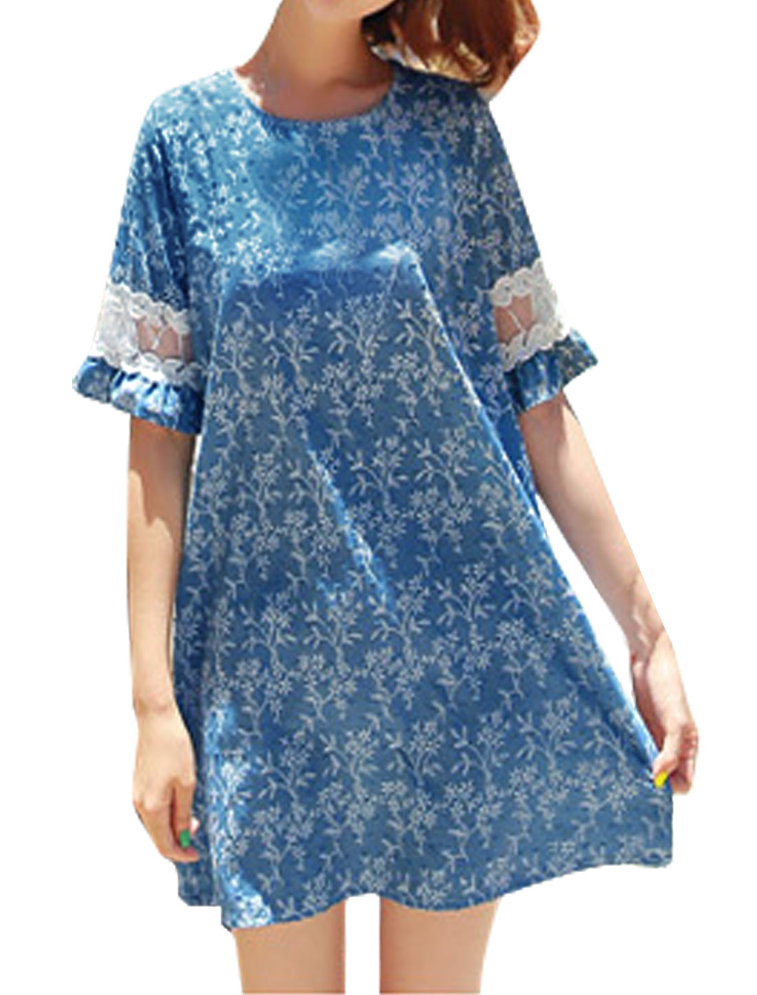 Women Floral Embroidery Mesh Panel Tunic Dress w String Blue XS
