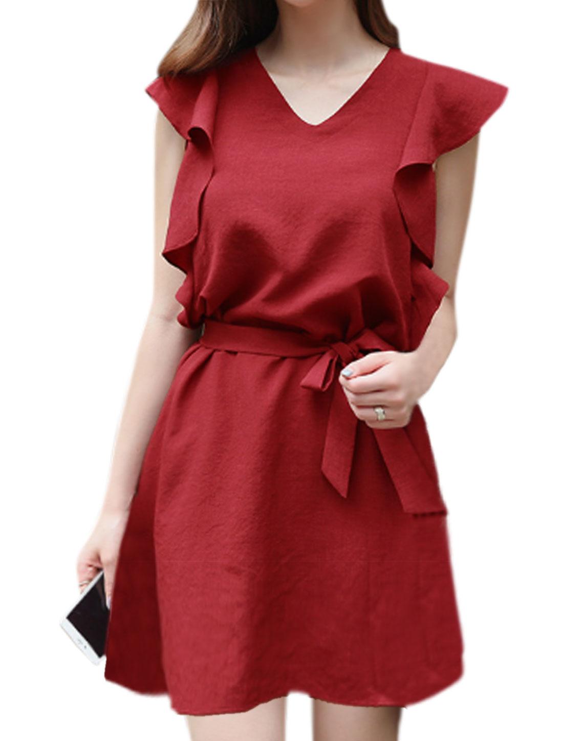 Women Butterfly Sleeves V Neck Self Tie Belt Tunic Dress Red S