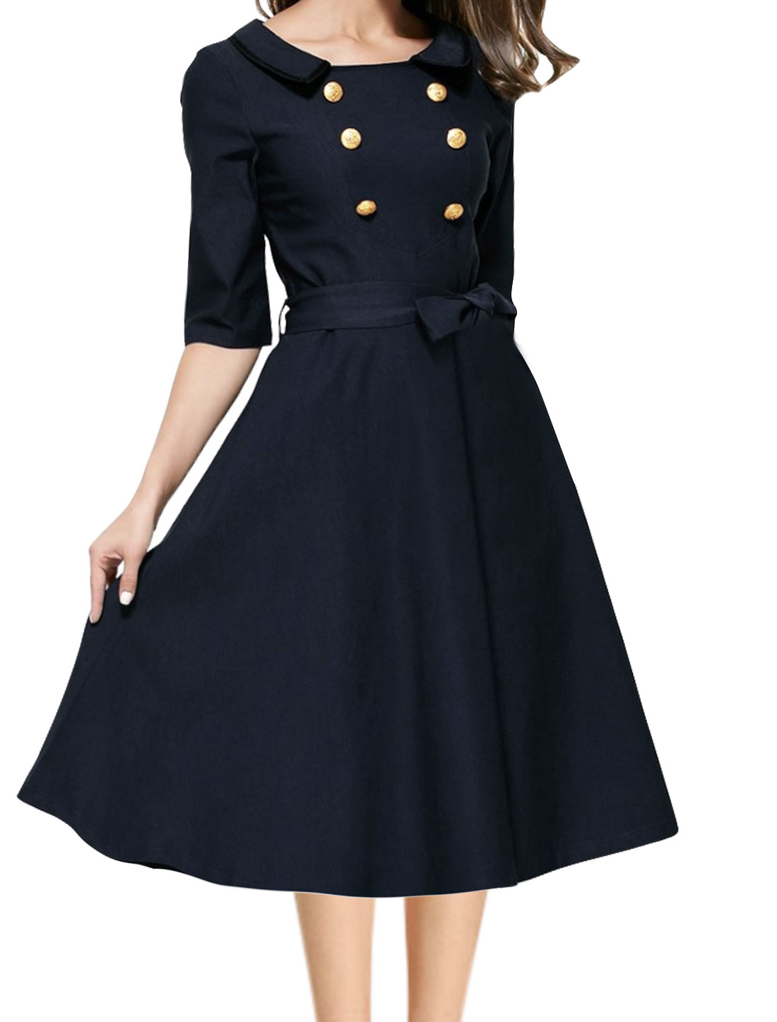 Women Layered Collar Buttons Decor Waist String A Line Dress Blue S