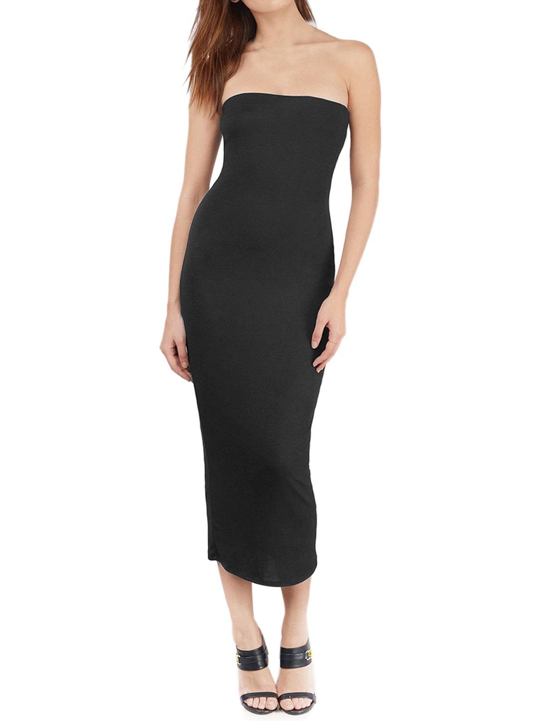 Women Elastic Upper Strapless Bodycon Midi Dress Black M