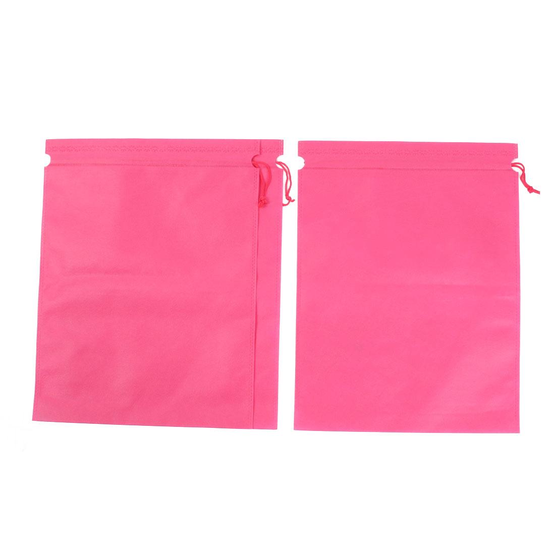 Non-woven Fabric Drawstring Clothes Shoes Sundry Storage Bag Organizer Holder Fuchsia 39 x 30cm 3pcs