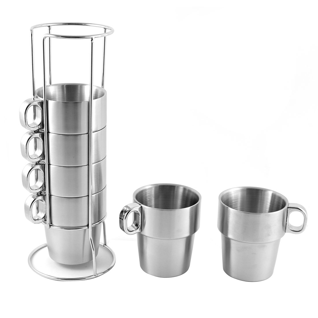 Living Room Stainless Steel 6 Cups w Stable Coffee Cup Pile Up Holder 7 in 1