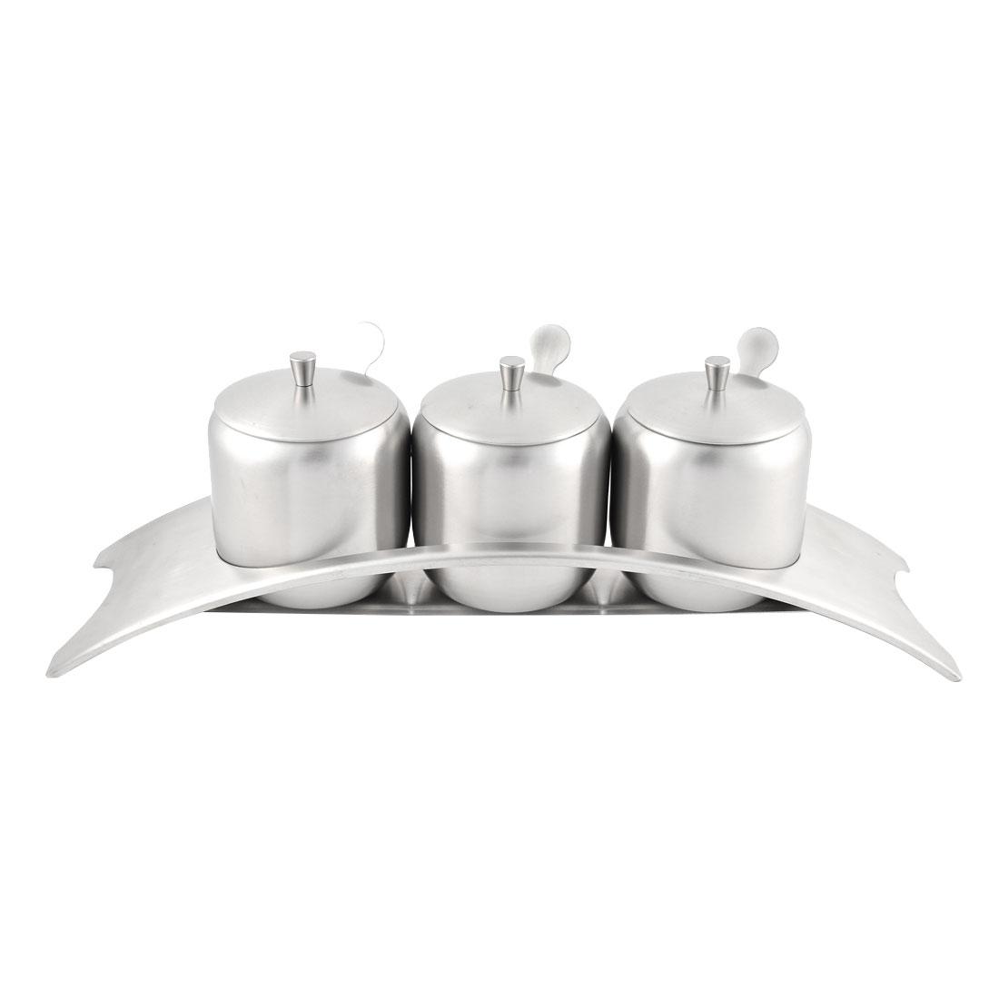 Kitchen Stainless Steel Salt Condiment Spice Server Container Set w Pedestal
