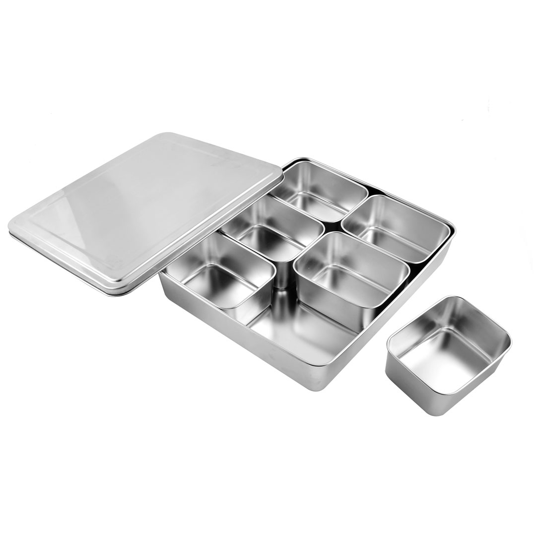 Stainless Steel Square Shape 6 Compartments Condiment Box Case Container