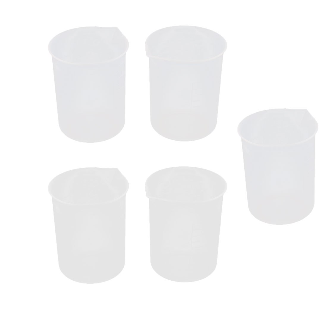 Home Kitchenware Plastic Water Oil Rice Measurement Cup Clear White 300ml 5 Pcs