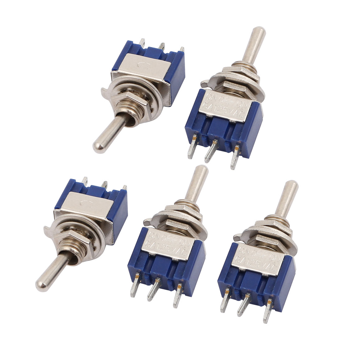 5 Pcs AC125V 6A 3 Terminal SPDT On/On 2 Position Mini Toggle Switch Blue