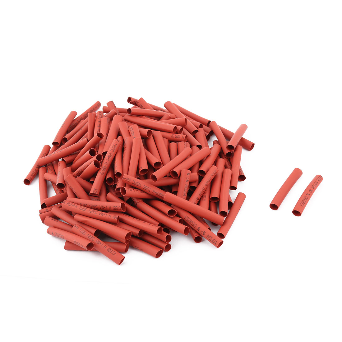 200 Pcs 6mm Dia 50mm Length Heat Shrinkable Tube Shrink Tubing Wire Dark Red