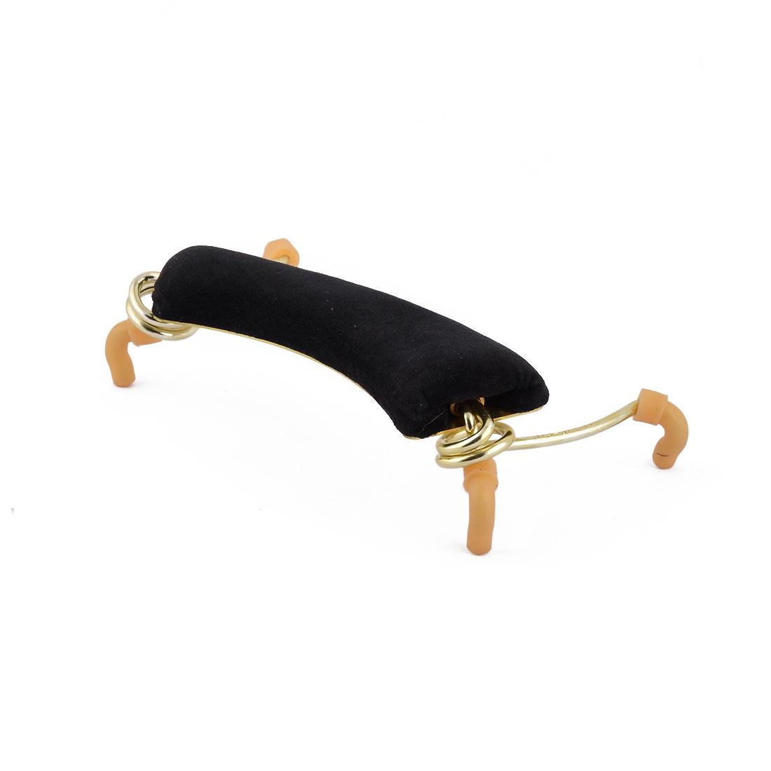 Flannel Pad Metal Frame Shoulder Support Holder Rest 17.2cm Long Gold Tone Black