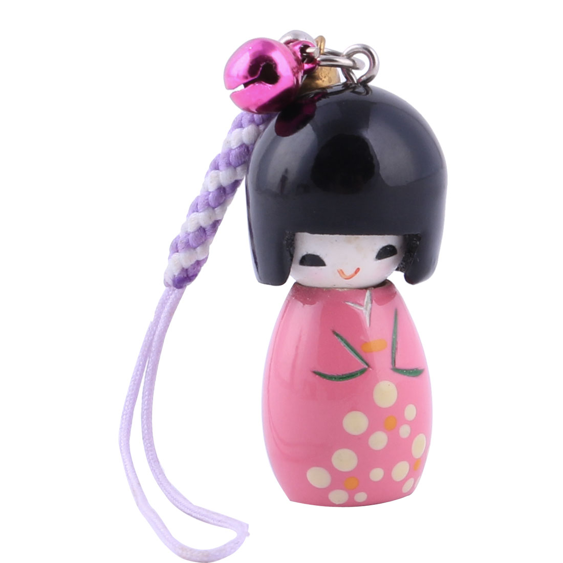 Wooden Japanese Kokeshi Doll Pendant Bell Decor Mobile Phone Strap Chain Pink