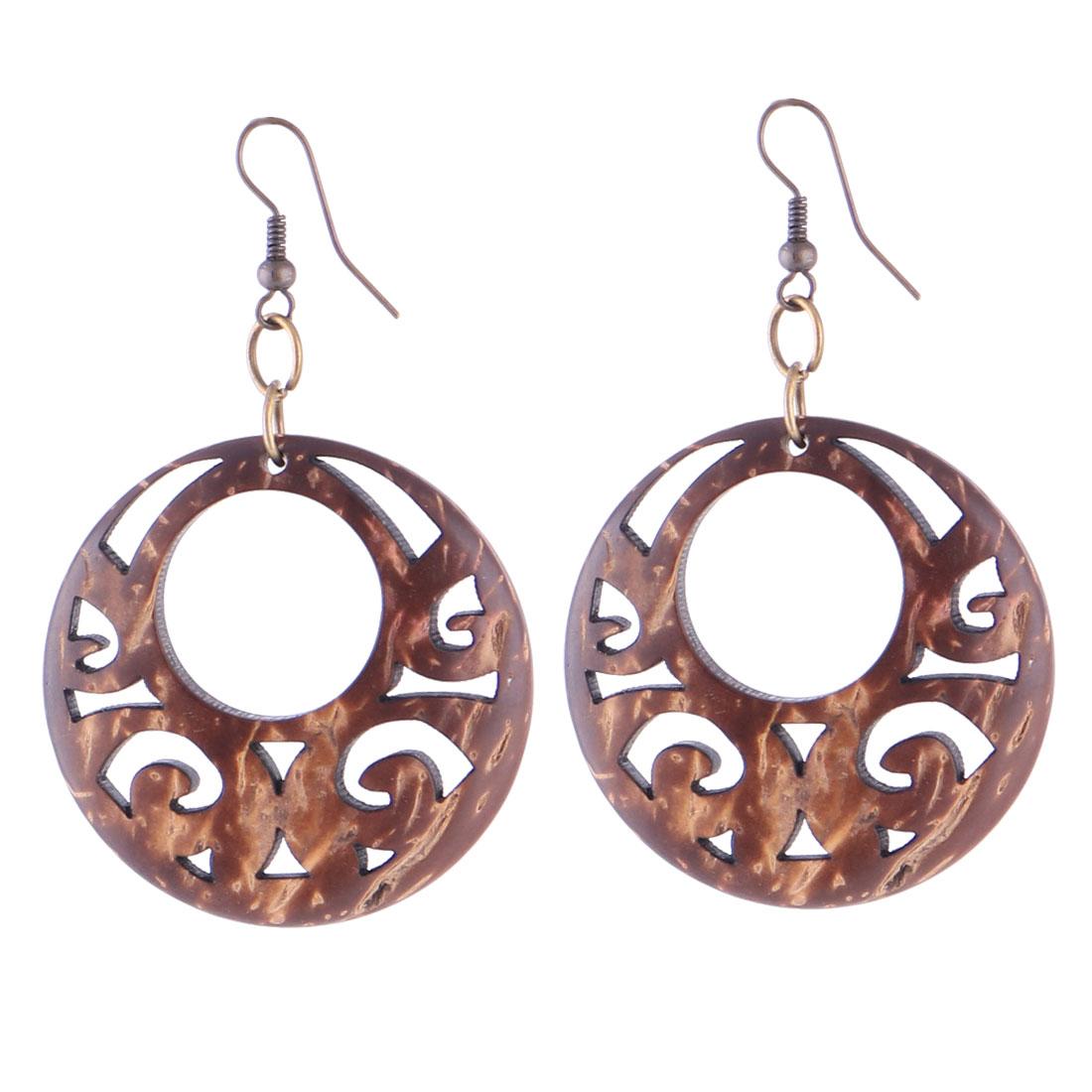 Lady Woman Wooden Oval Shape Carving Earbob Earrings Pierced Eardrop Pair