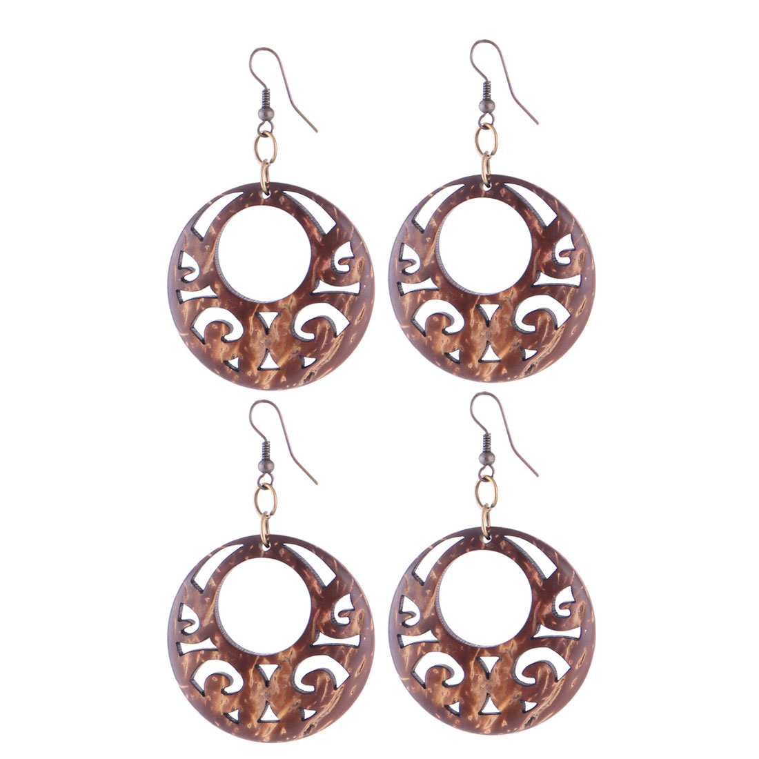 Lady Woman Wooden Oval Shape Carving Earbob Earrings Pierced Brown 2 Pairs