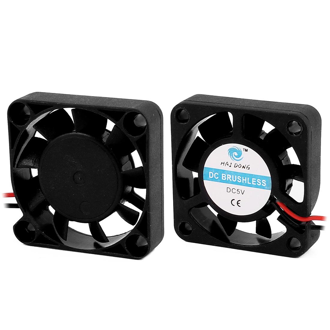 2Pcs 40 x 40 x 10mm 5V0.14A DC Heatsink Silent Cooling Case Fan Black