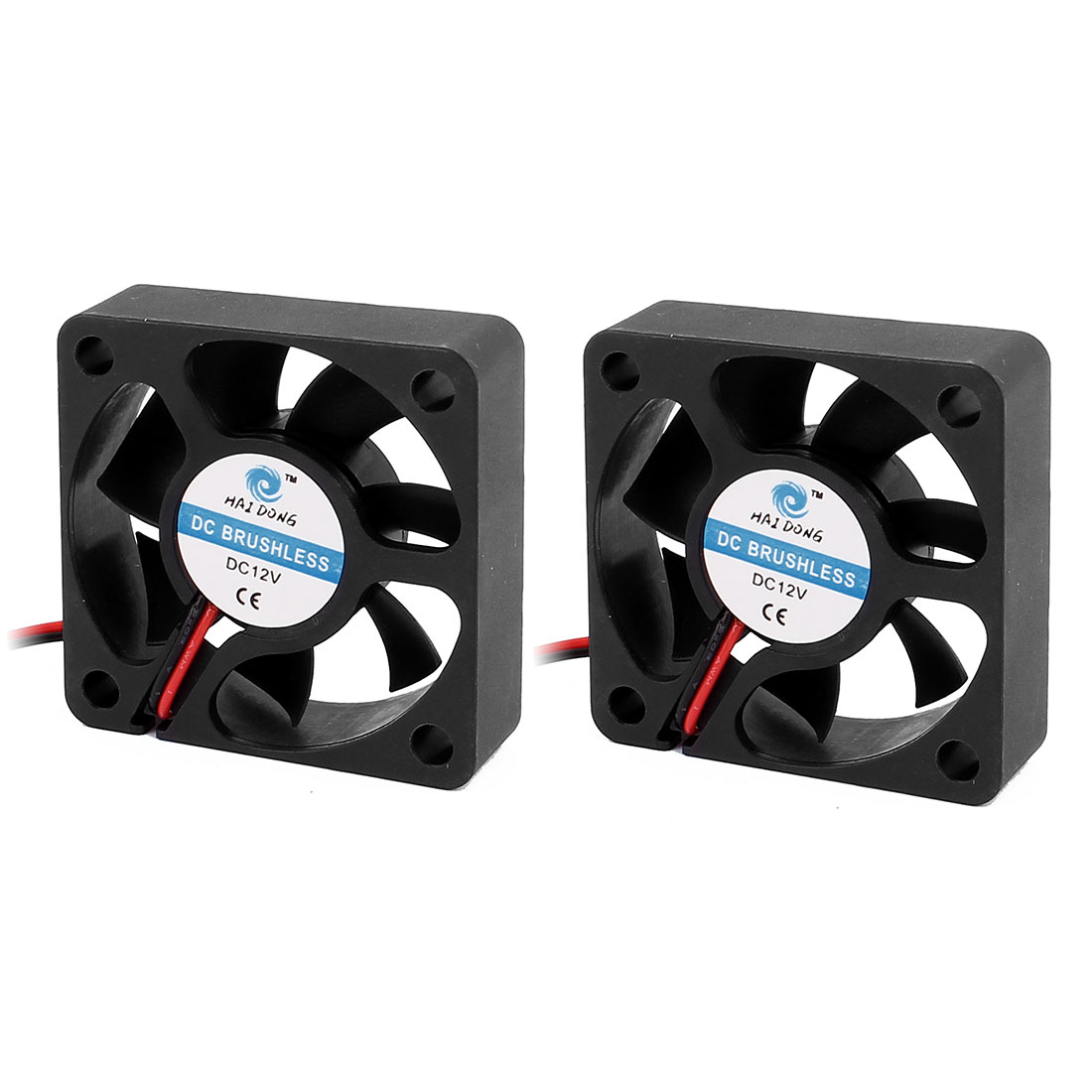 2Pcs 12V 50mm Black Quiet Case Cooling Fan 4500 RPM, 10.9 CMF, 29 dBA
