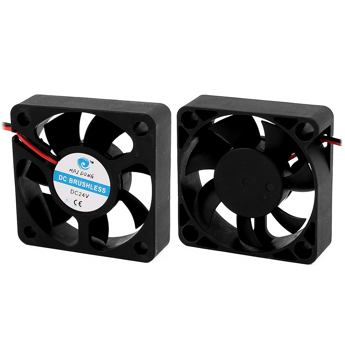 2DC 24V 0.06A 5x5x1.5cm 2-Wire 7 Vanes Black Case Cooling Fan for PC Case Cooler