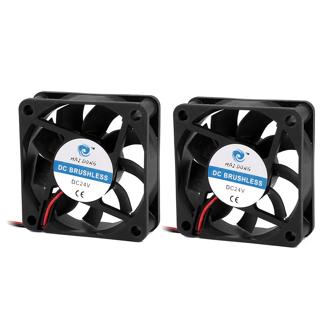 60x60x15mm DC 24V 0.08A 3500RPM 14.5CFM 30dBA Black Cooling/Radiator Fan 2Pcs