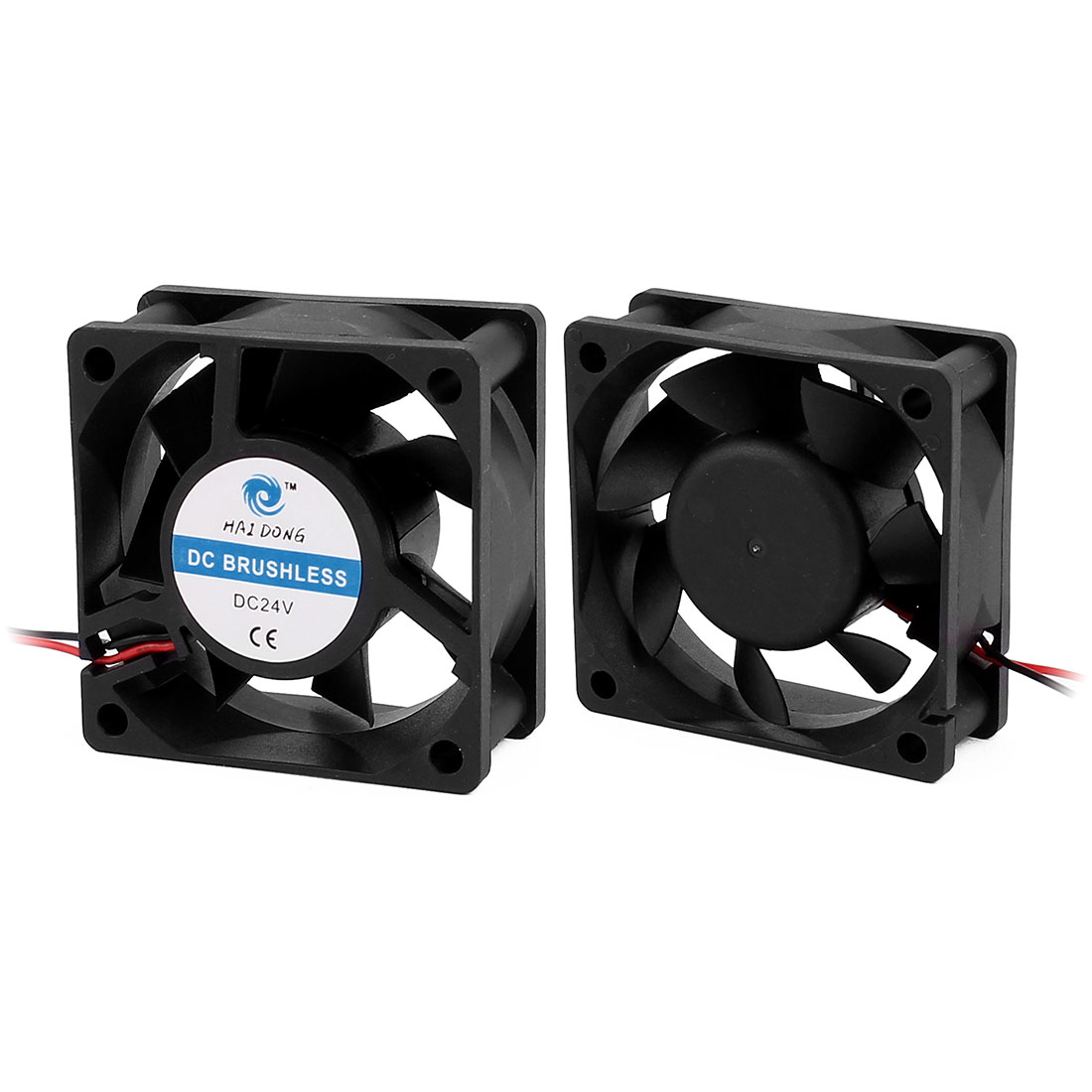 2Pcs DC 24V 60 x 60 x 25mm 7 Vanes 2 Leading Wires Case Cooling Fan for PC Case