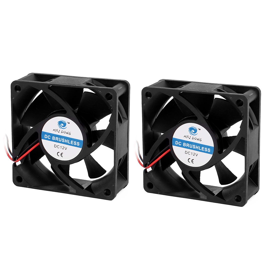 70 x 70 x 25mm Brushless Sleeve Cooling Fan DC 12V for Computer Case CPU Black 2Pcs