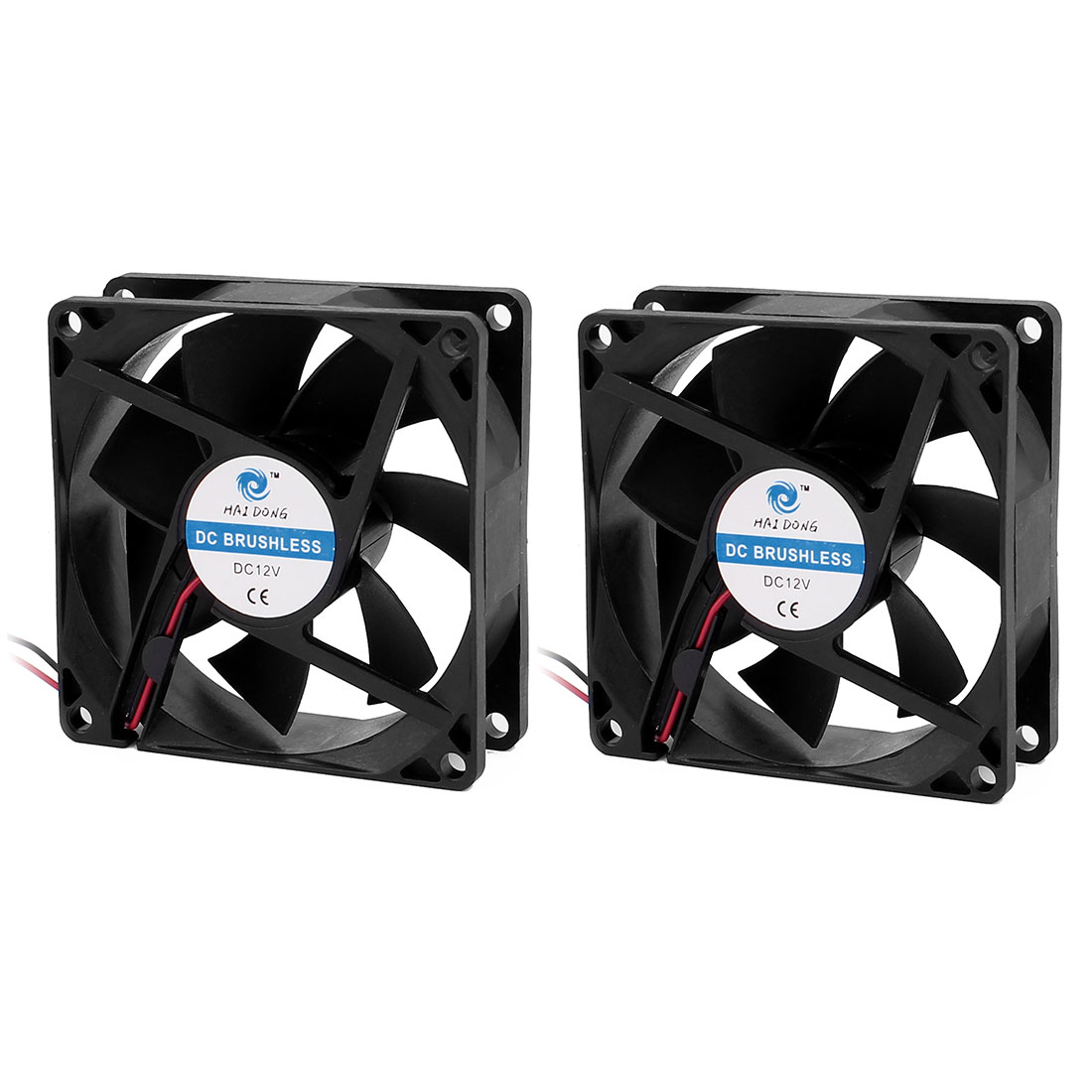 2 Pcs 8x8x2.5cm DC 12V 0.11A PC Case Heatsink Cooling Fan Black