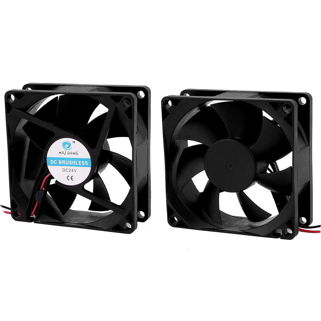 2Pcs DC 24V 0.12A 80mmx25mm 7 Vanes Cooling Fan for Computer Cases CPU Cooler Radiator