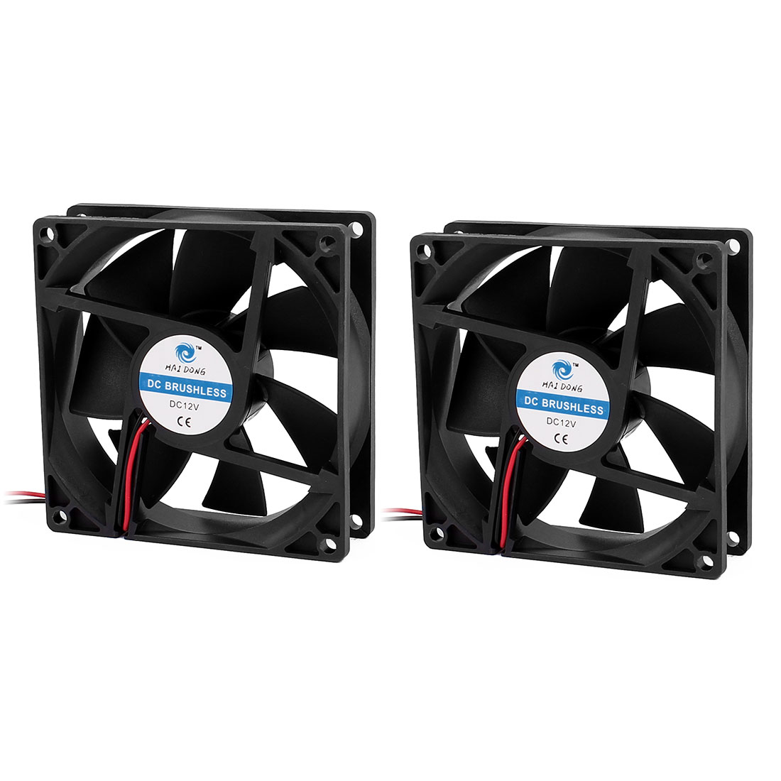 2Pcs 92 x 25mm DC 12V 0.18A Brushless CPU Cooler Cooling Fan Black Power 2.16W