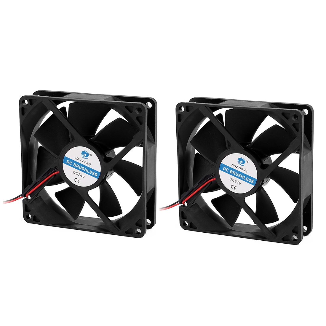 2Pcs 92 x 25mm DC 24V 0.18A Brushless CPU Cooler Heatsink Cooling Fan Black Power 3.6W