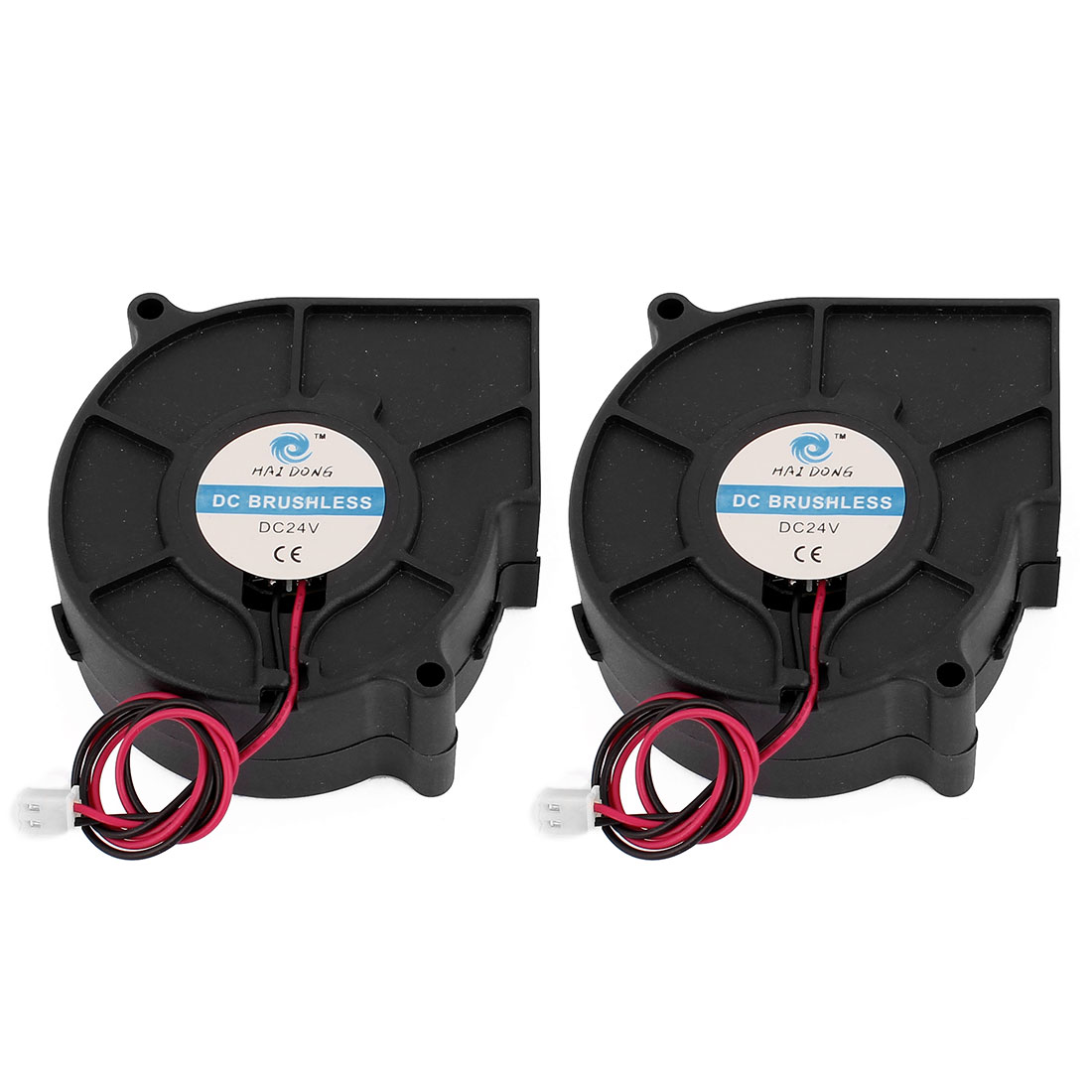 75 x 75 x 30mm 2Pin DC 24V Brushless Black Blower Cooling Fan 2 Pcs for Computer PC