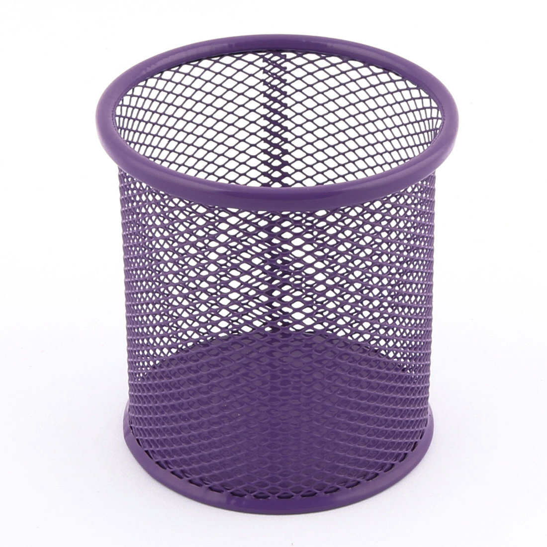 Metal Cylindrical Shaped Meshy Pen Pencil Holder Organizer 9.5cm High Purple