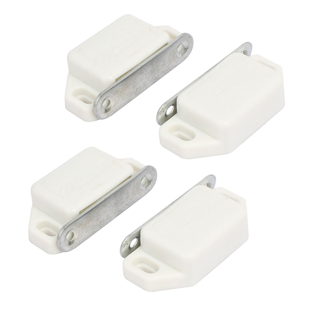 Cupboard Wardrobe Plastic Shell Magnetic Catch Latch White 57mmx26mmx15mm 4pcs